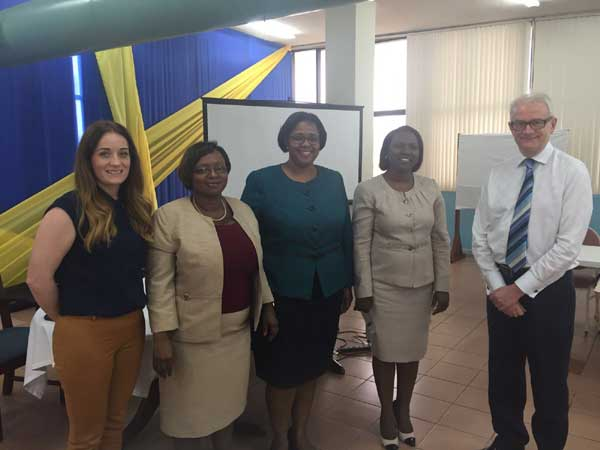 Chris Shapcott and Caroline Pyers with the leadership of Cabinet Office Jamaica